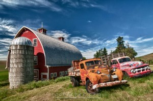 old trucks and barnin the Palouse