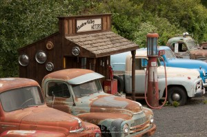 Tom Hennigar's displays of a gas station and old trucks.