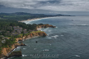 Inn at Otter Crest and Devil's Punchbowl State Park from Cape Foulweather.