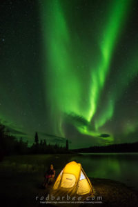 Aurora over Prelude Lake, Powder Point Territorial Park, Northwest Territories, Canada